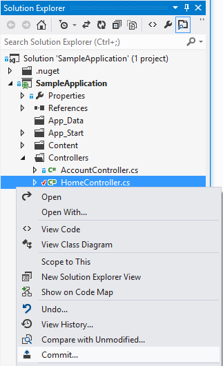 Visual studio tools for git visual studio marketplace integrates with visual studio projects to automatically track changes to your active solution shows file status in solution explorer and uses context ccuart Images